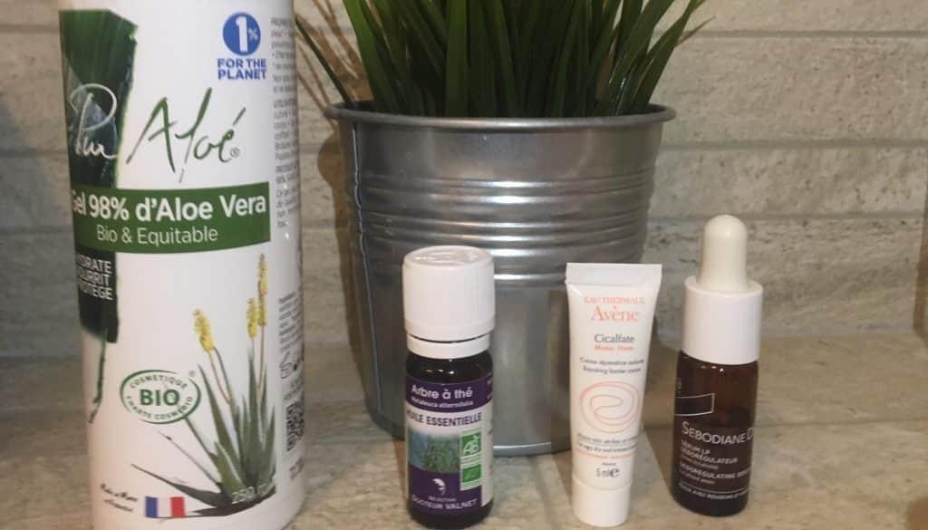 Des traitements contre la dermite séborrhéique du visage : aloe vera, sebodiane DS, huile essentielle de tea tree et du cicaflate
