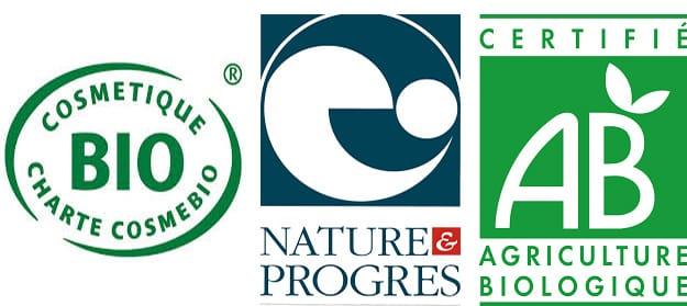 logo des certifications pour les crèmes : Certifié AB, Cosmétique BIO, Nature & progrès
